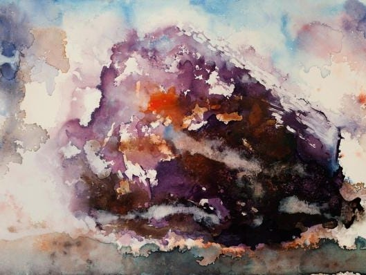 """""""Raison Sec,"""" by Stu Chait, depicts the transformation of a grape to a raisin. The watercolor on canvas is 24 by 48 inches wide and will be included in the exhibit """"A Seasonal Consideration"""" at Red Tail Ridge Winery from June through August 2013."""