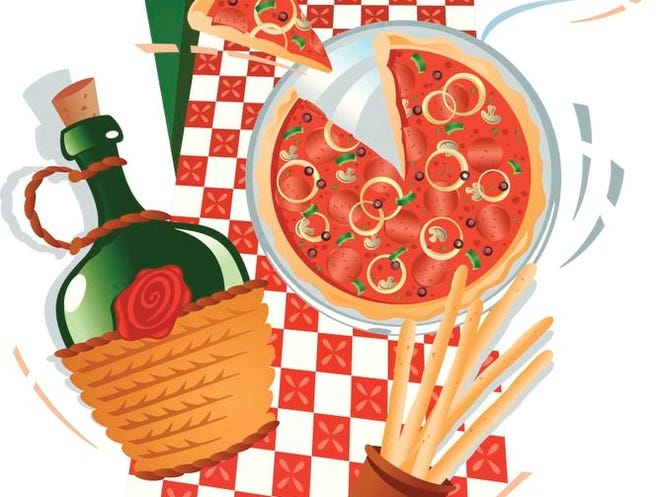 Italian food montage, Color, Grouped elements