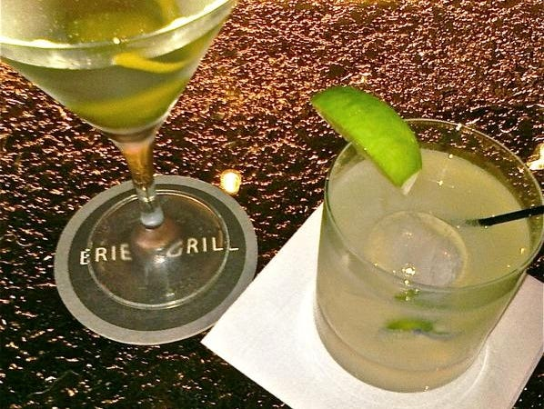 A Red Tail Ridge Winery Riesling and a citrus gin fizz from the newly refurbished Erie Grill in Pittsford.