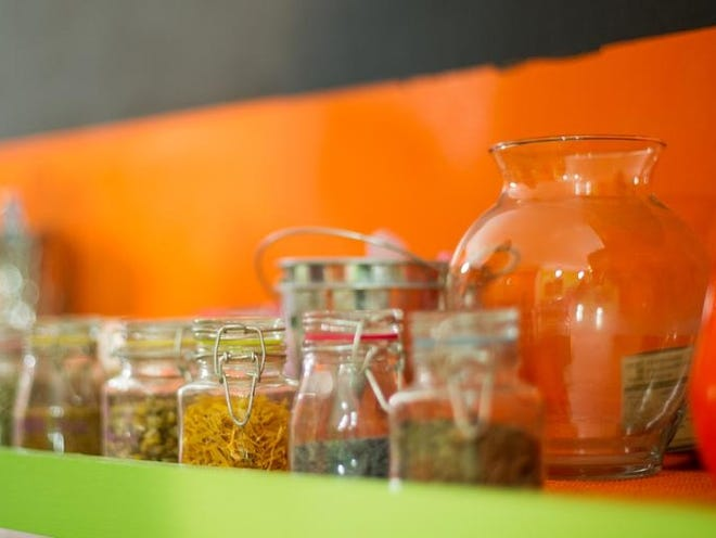 Mason jars are used for several purposes in the new juice bar, Just Juice, located on Park Ave.
