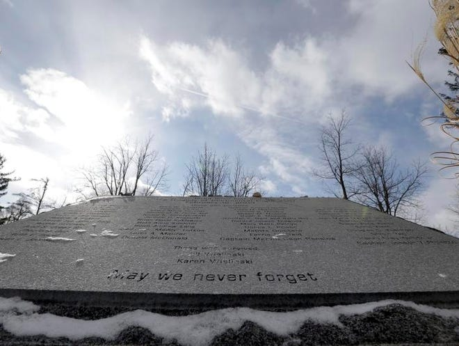 A memorial marks the location of the crash of Continental Connection Flight 3407 that killed 50 people, in Clarence Center, Erie County, in 2009.