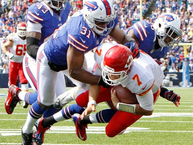 Buffalo Bills safety Jairus Byrd, left, helps tackle Kansas City quarterback Matt Cassel during a game in Orchard Park last September. Byrd failed to agree to terms on a long-term contract with the Bills before Monday's deadline.