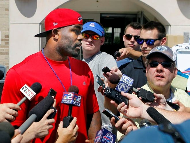 Defensive end Mario Williams speaks to the media during the Bills' move-in day at St. John Fisher College on Friday.