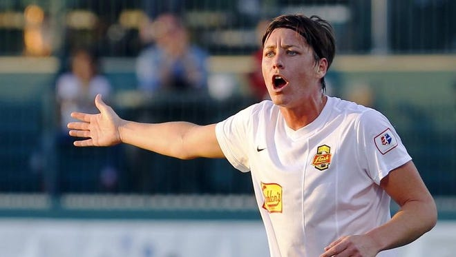 Flash's Abby Wambach expressed her disappointment in an offsides call during National Women's Soccer League action between the Sky Blue FC and the WNY Flash at Sahlen's Stadium in Rochester Wednesday evening, May 1, 2013.