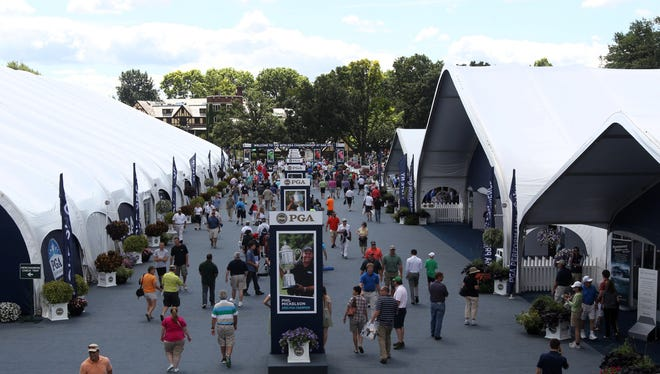 The main entrance to Oak Hill  during the first day of practice of the 95th PGA Championship at Oak Hill in Pittsford, NY August 5, 2013.