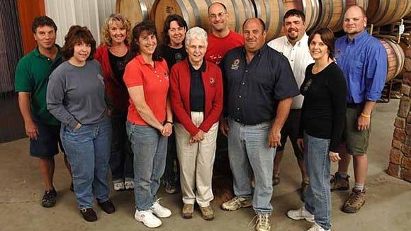 The crew at Lakewood Vineyards: John Damian (far left), Kathleen Dafoe, Norrie Cornelius, Teresa Knapp, Liz Stamp, Beverly Stamp, Chris Stamp, Dave Stamp, Chad Hendrickson, Kaye Stamp and Tracy Gumtow.