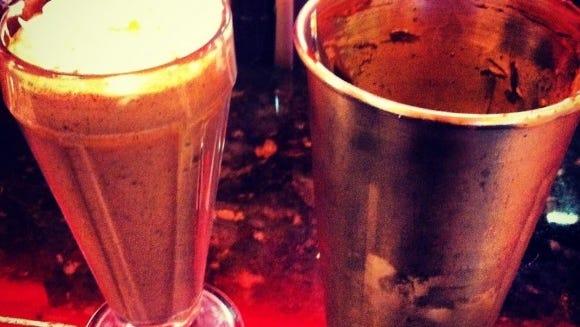 Nutella and chocolate milkshake at Highland Park Diner.