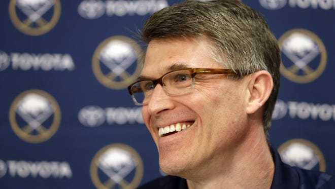 Buffalo Sabres coach Ron Rolston speaks during an NHL hockey news conference in Buffalo on May 7.