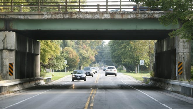 A file photo of the Interstate 490 bridge over Marsh Road in Pittsford, which is given a mere 3.42 out of 7 in the DOT's point system.