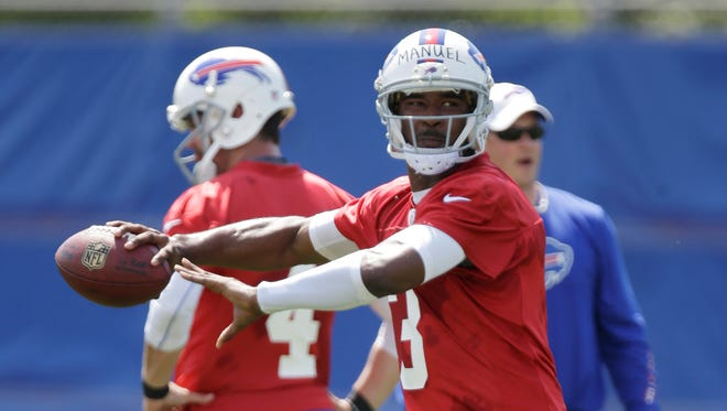 Buffalo Bills' EJ Manuel throws during an optional NFL workout in Orchard Park on May 20.