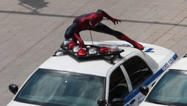 Spider-Man in action in Rochester on Thursday -- the final day of filming for The Amazing Spider-Man 2.
