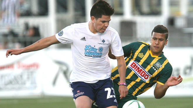 The Rhinos' Gabe Latigue, right, could return to action against the New England Revolution.