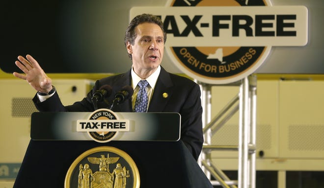 Gov. Andrew Cuomo said his plan for tax-free space will make this state the Empire State once again. New York Gov. Andrew Cuomo speaks during a news conference at the College of Nanoscale Science and Engineering at the University at Albany on Wednesday, May 22, 2013, in Albany, N.Y. Cuomo wants to create tax-free entrepreneurial zones tied to State University of New York campuses. Cuomo's proposal would give full tax credits to new businesses in select communities with state college campuses.