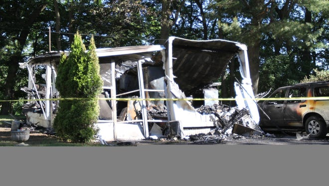 A fire destroyed a mobile home on Spinet Drive in Penfield.