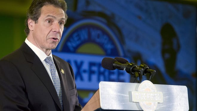 A file photo of New York Gov. Andrew Cuomo speaking in Albany on Monday.