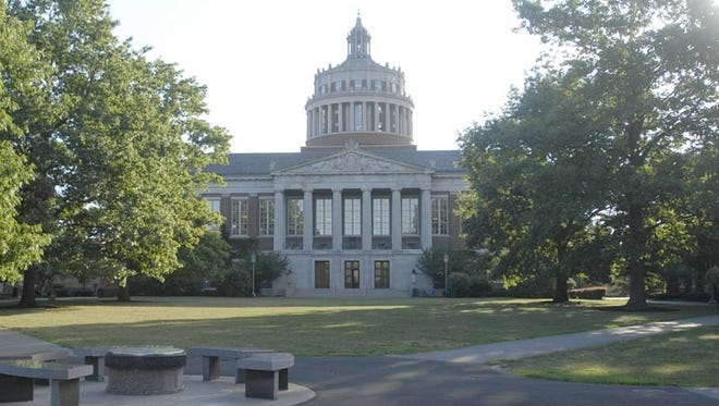 A file photo of the University of Rochester's Rush Rhees Library.