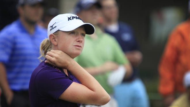 Stacy Lewis looks down the 10th fairway at Locust Hill.
