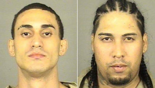 Wilbert Quinones Medina, left, and Billy Joe Rivera, are together accused of fatally shooting their neighbor Joseph Guana, 39, on Weyl Street on Wednesday.