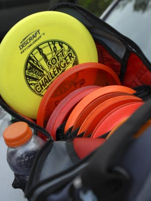 An array of discs in a bag.