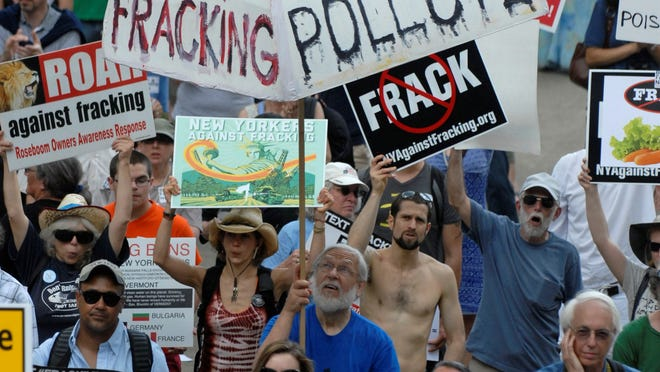 Protesters rally against fracking at the Capitol in Albany, N.Y., on Monday, June 17, 2013.