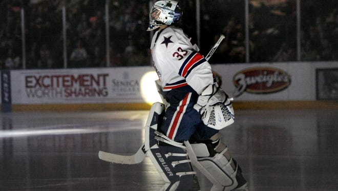 Rochester's goalie David Leggio in introduced prior to game three of the Western Conference quarterfinals of the 2013 Calder Cup Playoffs held at the Blue Cross Arena.