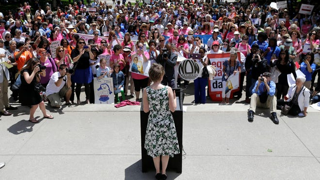 A file photo of a women's rights rally at the Capitol earlier this month in Albany.