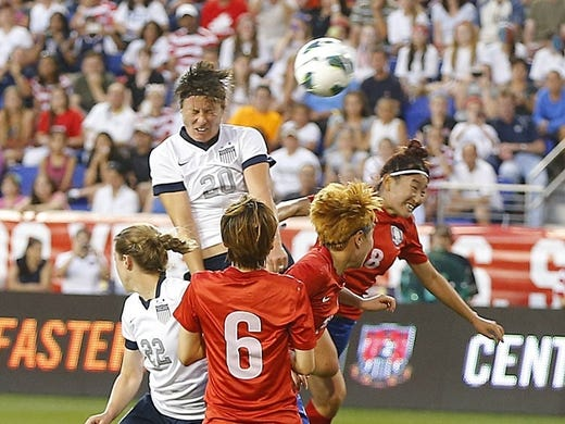 64a9c1c35c8 Jun 20, 2013; Harrison, NJ, USA; USA forward Abby Wambach (20) scores her  third goal of the first half and her career 159th goal to become the  women's all ...