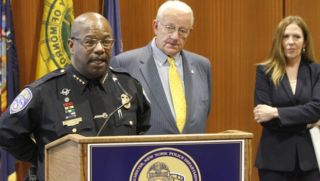 Rochester Police Chief James M. Sheppard, left, joined by Mayor Thomas S. Richards, and Monroe County District Attorney Sandra Doorley, gives an update on RPD Sgt. Flamur Zenelovic.