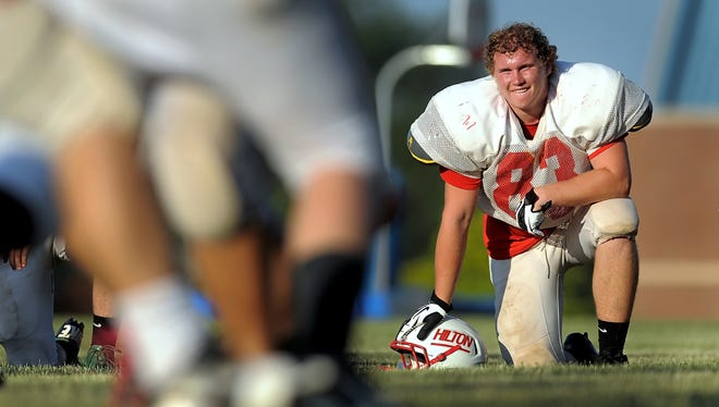 Hilton's Andy Miller takes a breather during practice with his West All-Star teammates at the Brockport schools campus on Wednesday, June 26, 2013 in preparation for Saturday's annual Eddie Meath All Star Game.