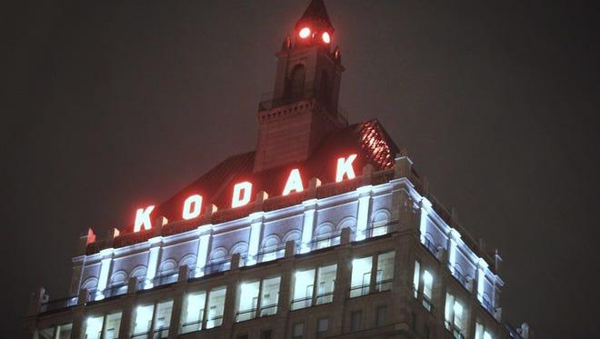 Kodak headquarters at night.
