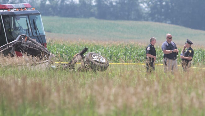 Some of the wreckage at the scene of a fatal crash in Wheatland on July 16.