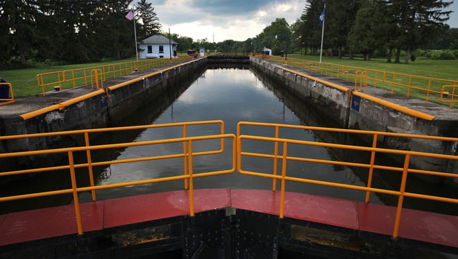 The sky is reflected in the Erie Canal looking west from Lock 29 in Palmyra.