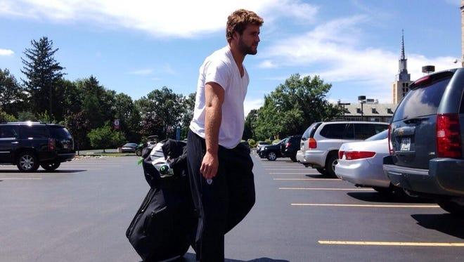Linebacker Kiko Alonso arrives at camp.