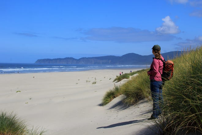 Katie Duzik, natural resources specialist for the coastal region of Oregon's state parks, looks out on the one mile of beach that's part of the Beltz Property, a 357-acre parcel north of Pacific City that will become Oregon's next state park. In the distance is Cape Lookout.