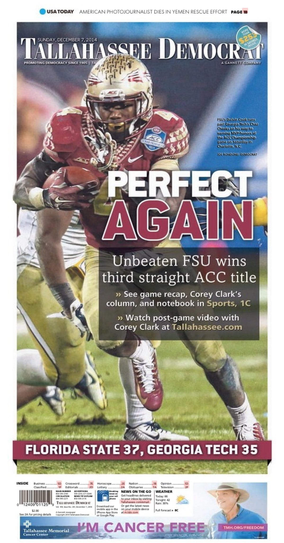 Front-page poster of FSU ACC championship on sale