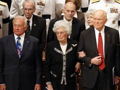 Former astronaut Buzz Aldrin and former Ohio Sen. John Glenn were among those present at the memorial service.