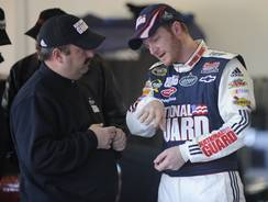 Dale Earnhardt Jr. with then-Sprint Cup crew chief Tony Eury Jr. at Daytona International Speedway in February 2009.
