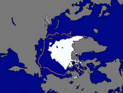 A map of the Arctic shows the amount of summer sea ice on Tuesday (in white) and the average extent (within the orange line). Scientists say sea ice in the Arctic shrank to an all-time low on Sunday.