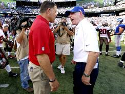 Buccaneers coach Greg Schiano, left, and Giants coach Tom Coughlin exchange words Sept. 16. The Giants won the game 41-34.