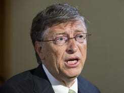 Microsoft founder and philanthropist Bill Gates speaks to the media during an interview regarding his efforts to eliminate polio on Thursday in New York.