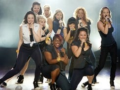 Meet The Bellas: (L to R) Shelly Regner, Alexis Knapp. Rebel Wilson, Anna Camp, Ester Dean, Anna Kendrick, Hana Mae Lee,  Wanetah Walmsley, Brittany Snow and Kelly Alice Jakle imbue 'Pitch Perfect' with flirty, light fun that harkens back to the glory days of 'Glee.'