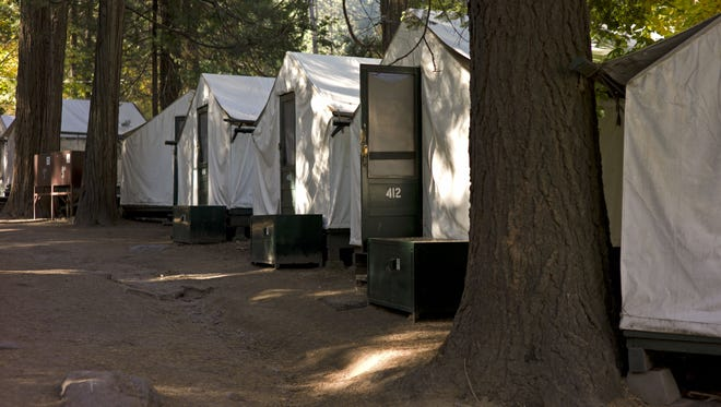 In this photo from Sunday Oct. 23, 2011, tents are seen in Curry Village in Yosemite National Park, Calif.