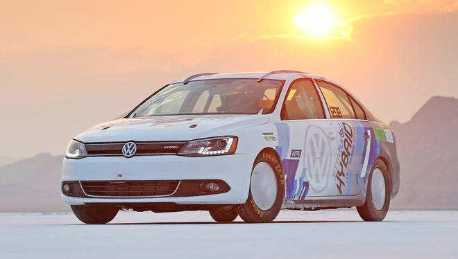 World's fastest hybrid: A version of the new Jetta Turbo Hybrid, going on sale this month, that set a speed record of 185.4 mph in August.