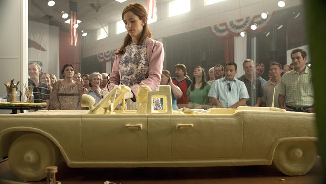 Smooth ride: Jennifer Garner carves a classic car out of butter in a competition at the center of the new comedy 'Butter.'