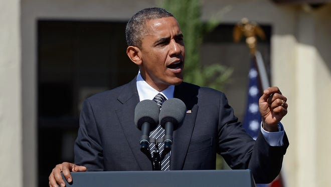 President Obama speaks during the announcement of the Cesar E. Chavez National Monument in Keene, Calif.