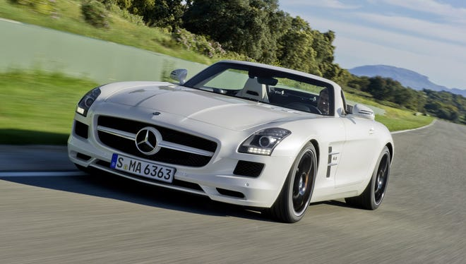 The roadster model of the 2012 Mercedes-Benz SLS AMG, which also comes as a gull-wing coupe. Both versions of the 6.3-liter V-8 super car are subject to the federal gas-guzzler tax.