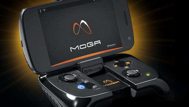 The MOGA controller lets users play games on an Android device with a traditional video game controller.