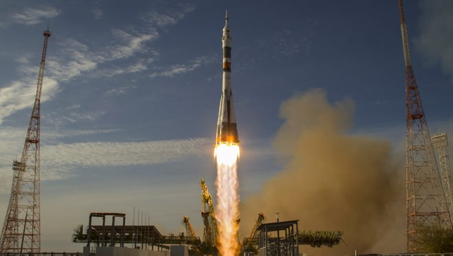 The Soyuz rocket launches to the International Space Station on October 23 in Baikonur, Kazakhstan.