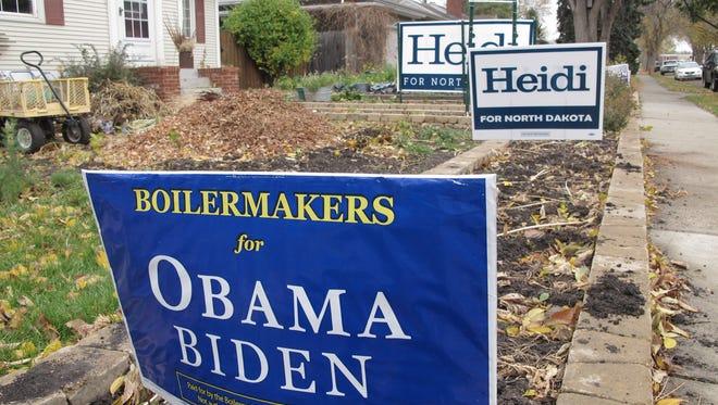 Political yard signs in Bismarck, N.D.