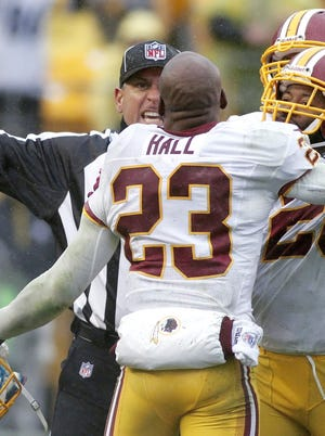 PITTSBURGH, PA - OCTOBER 28:  Washington Redskins cornerback DeAngelo Hall  is ejected from the game against the Pittsburgh Steelers on October 28, 2012 at Heinz Field in Pittsburgh, Pennsylvania.